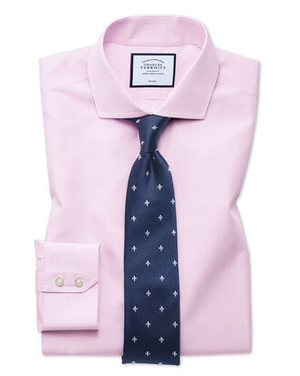 Extra slim fit non-iron natural cool poplin pink shirt