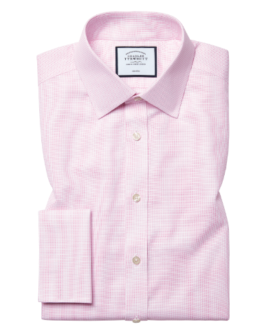 Classic fit non-iron dash weave pink shirt