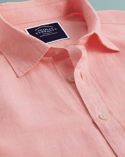 Slim fit pink TENCEL™ with linen shirt