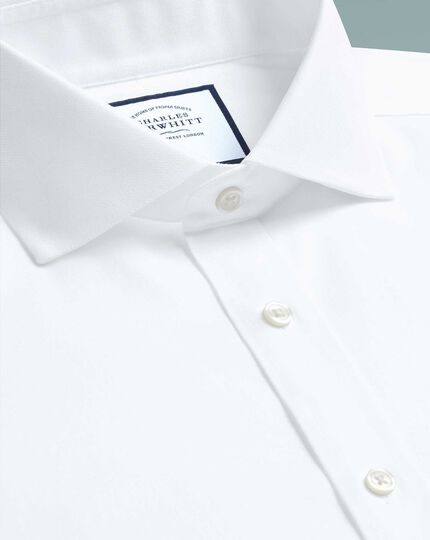 Slim fit spread collar non-iron cotton stretch Oxford white shirt