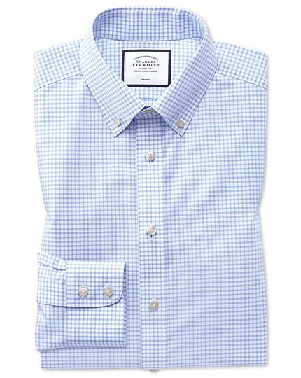 Slim fit button-down non-iron sky blue windowpane check shirt