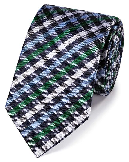 Blue and green gingham check classic silk tie