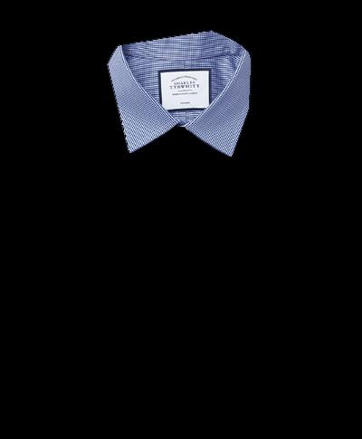 Bügelfreies Classic Fit Hemd mit Hahnentritt in Königsblau