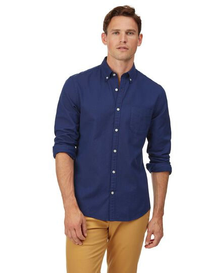 Extra slim fit royal blue button-down washed Oxford plain shirt