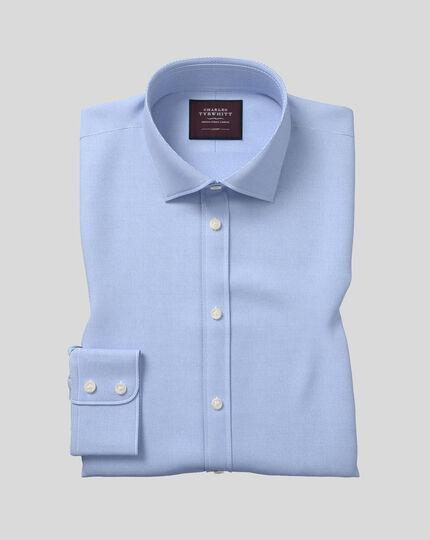 Semi-Spread Collar Luxury Twill Shirt  - Light Blue