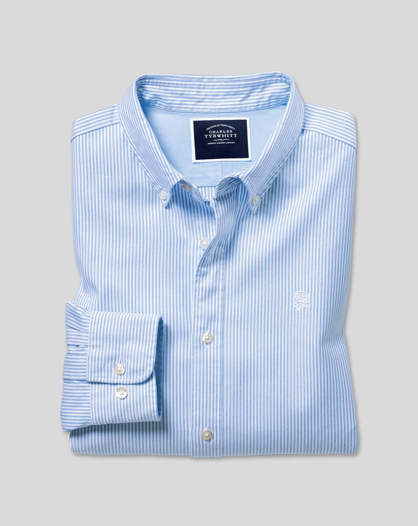 England Rugby Button-Down Collar Washed Oxford Shirt - Blue