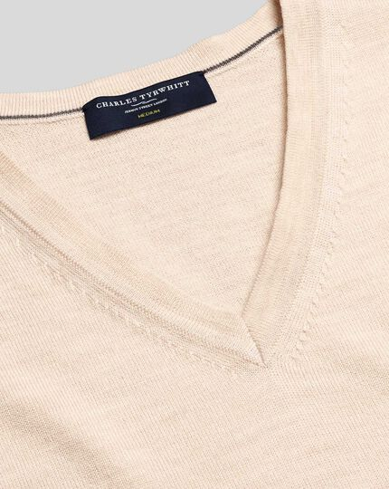 Merino V-Neck Sweater - Stone