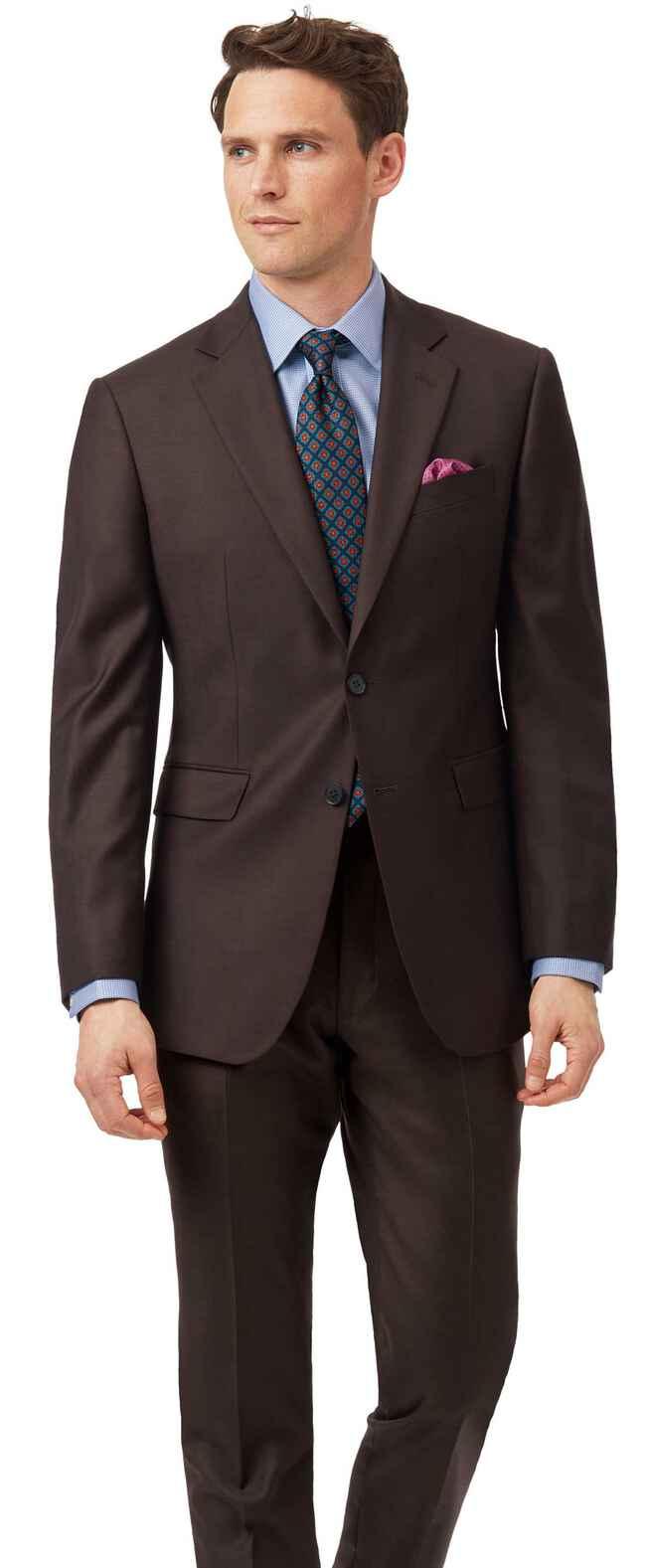 Slim Fit Business Twill-Anzug in Braun