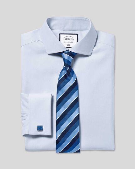 Silk Satin Stripe Tie - Blue