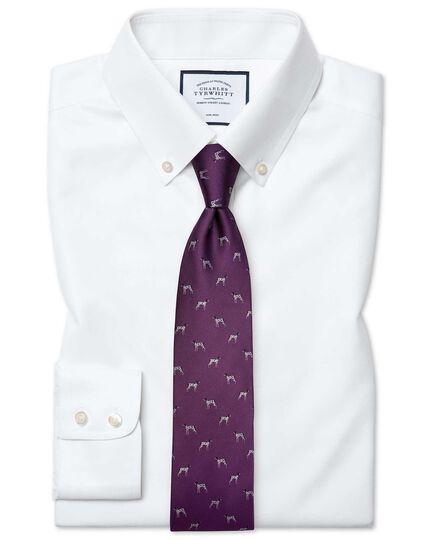 Slim fit white button-down collar non-iron twill shirt