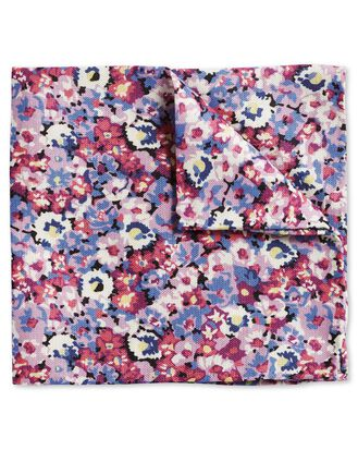 Pink multi floral cotton silk print pocket square