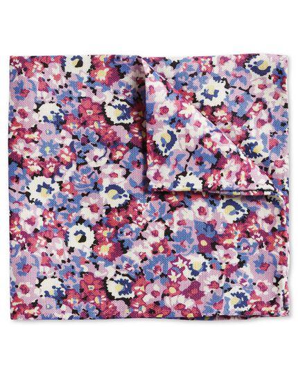 Einstecktuch Baumwolle/Seide mit Blumenmuster in Rosa & Bunt