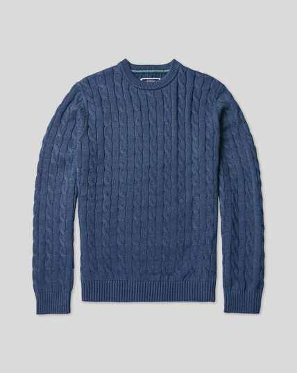 Pima Cotton Cable Jumper - Denim Blue