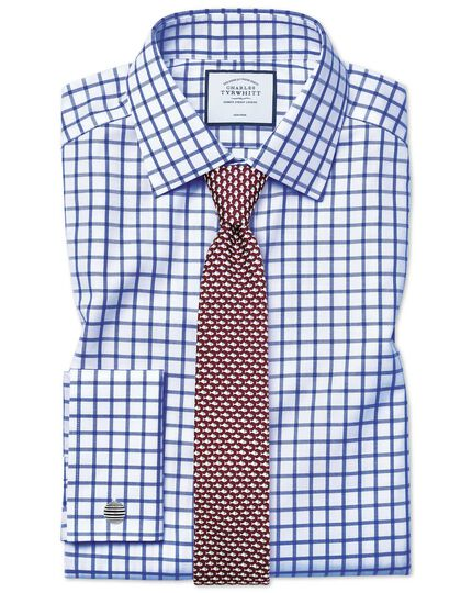Extra slim fit non-iron twill grid check royal blue shirt