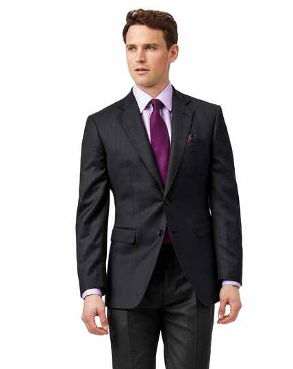 Grey slim fit birdseye travel suit jacket