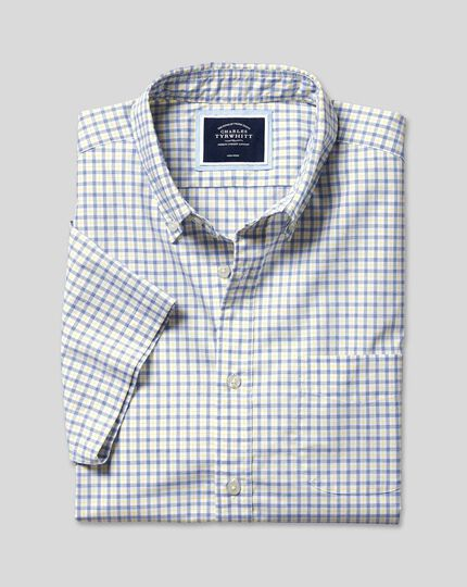 Button-Down Collar Non-Iron Stretch Poplin Check Short Sleeve Shirt - Yellow & Blue