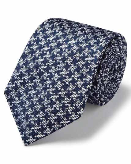 Silver and navy silk soft touch puppytooth design classic tie