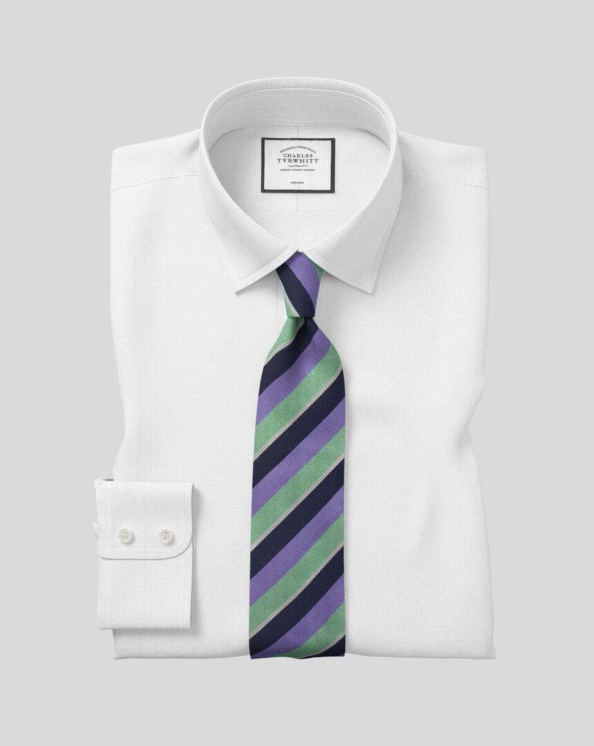 Bügelfreies Hemd mit Kent Kragen und Fischgrätmuster  - Weiß