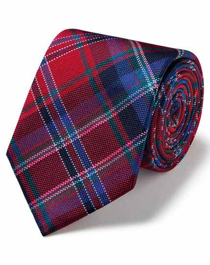 Red tartan multi check luxury English tie