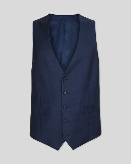 Twill Business Suit Waistcoat - Blue
