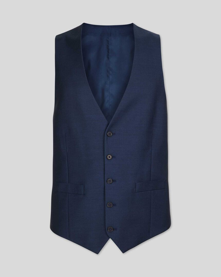 Twill Business Suit Waistcoat - Blue