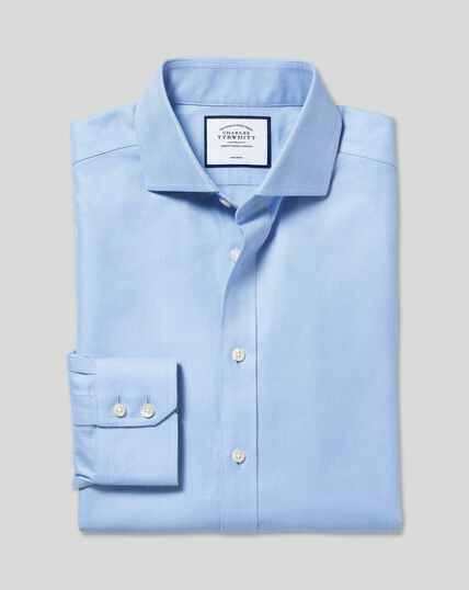 Cutaway Collar Non-Iron Herringbone Shirt  - Sky