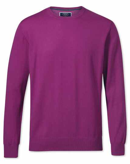 Berry merino wool crew neck jumper