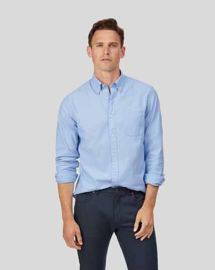 Chemise oxford délavée à col boutonné - Bleu ciel