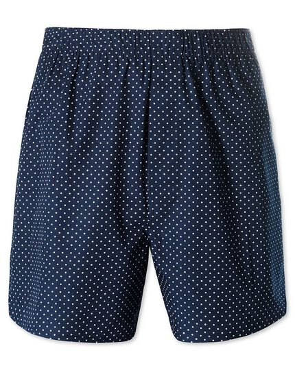 Navy printed dot woven boxers