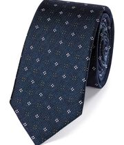 Teal silk textured neat slim tie