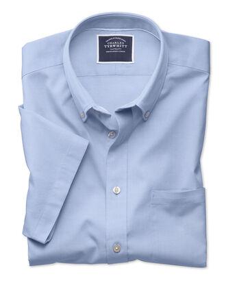 Chemise bleu ciel en oxford délavé coupe droite à manches courtes