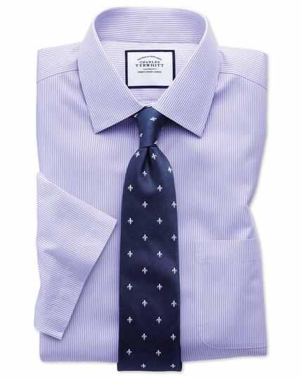 Chemise lilas slim fit à rayures Bengale et manches courtes sans repassage