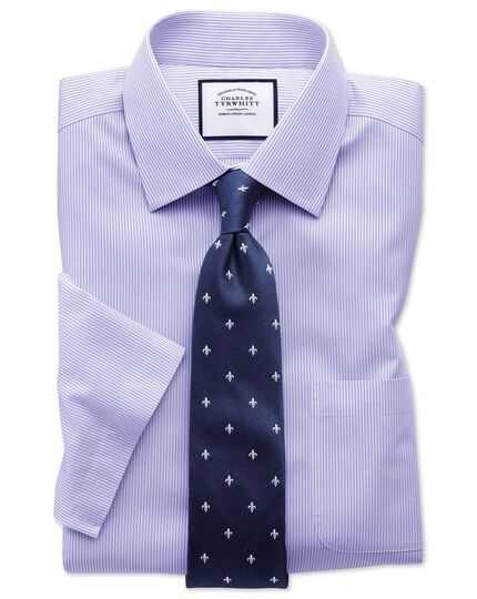 Slim fit non-iron bengal stripe short sleeve lilac shirt