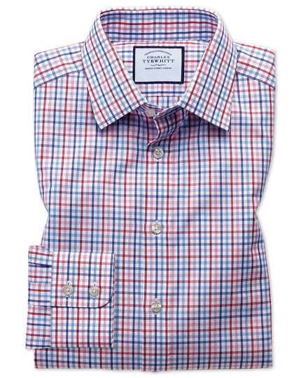 Classic fit poplin multi red check shirt