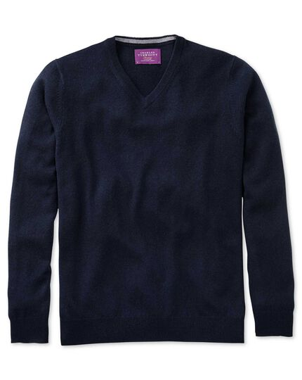 Navy cashmere v-neck jumper