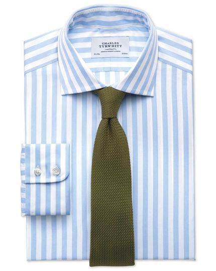 Classic fit semi-spread collar Egyptian cotton stripe sky blue shirt