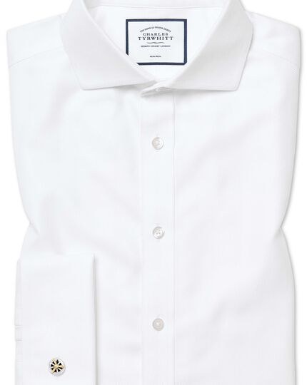 Extra slim fit non-iron white herringbone shirt