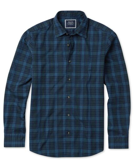 Slim Fit Winter-Flanellhemd mit Schottenkaros in Blau