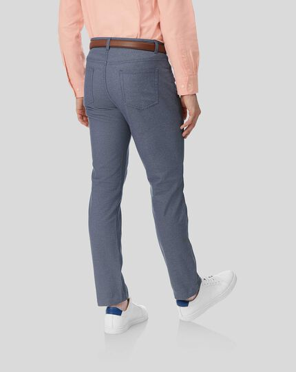 Textured 5-Pocket Pants - Blue