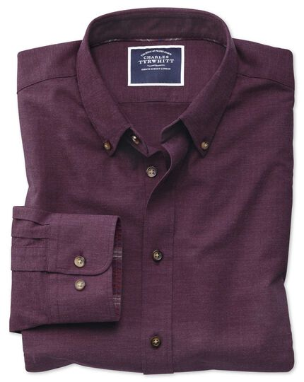 Classic fit berry herringbone melange shirt