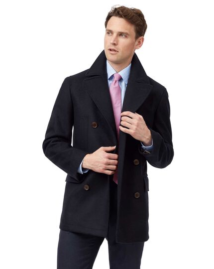 Navy Italian wool cashmere pea coat