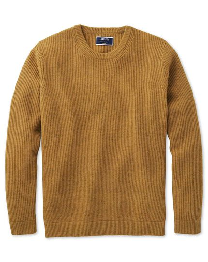 Yellow lambswool rib crew neck jumper
