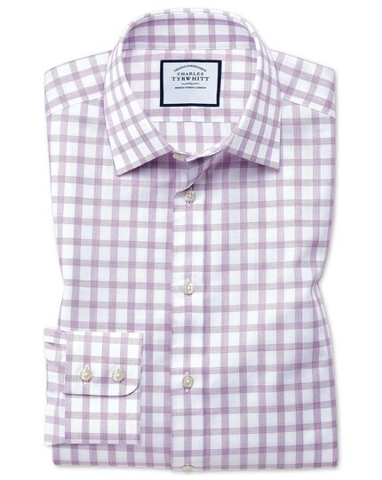 Chemise violette coupe droite à carreaux simples