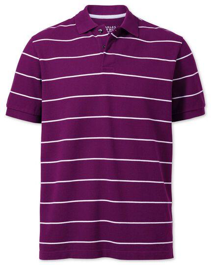 Purple and white stripe pique polo
