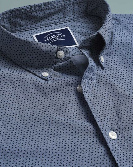 Classic fit soft washed stretch poplin navy paisely shirt