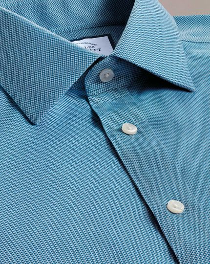 Slim fit non-iron teal arrow weave shirt
