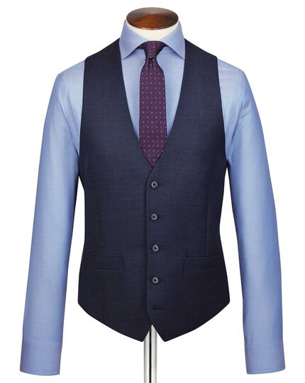 Navy adjustable fit jaspé business suit waistcoat