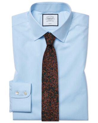 Chemise bleu ciel en popeline sans repassage slim fit
