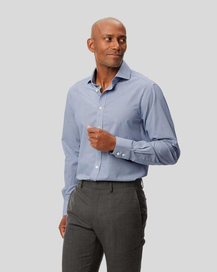 Spread Collar Non-Iron 4 Way Stretch Check Shirt - Navy