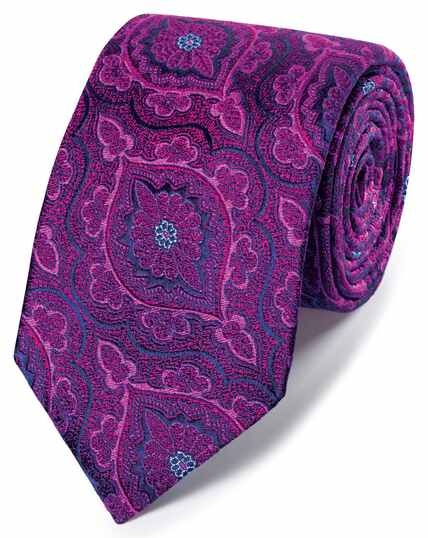 Pink floral brocade English luxury tie